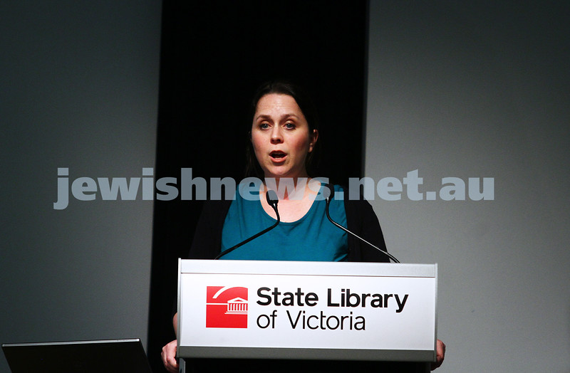 """16-9-13. State Library of Victoria. Lecture by Richard Falk on """" Human Rights in the Occupied Palestinian Territories"""".  Dr Victoria mason, Lecturer, School of Politics and International Relations, Research School of Social Sciences, Australian National University College of the Arts ans Social Sciences. Introduces Richard Falk. Photo: Peter Haskin"""