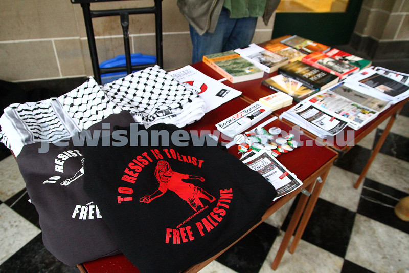 "16-9-13. State Library of Victoria. Lecture by Richard Falk on "" Human Rights in the Occupied Palestinian Territories"".  Some of the material on display from the Students for Palestine organisation. Photo: Peter Haskin"