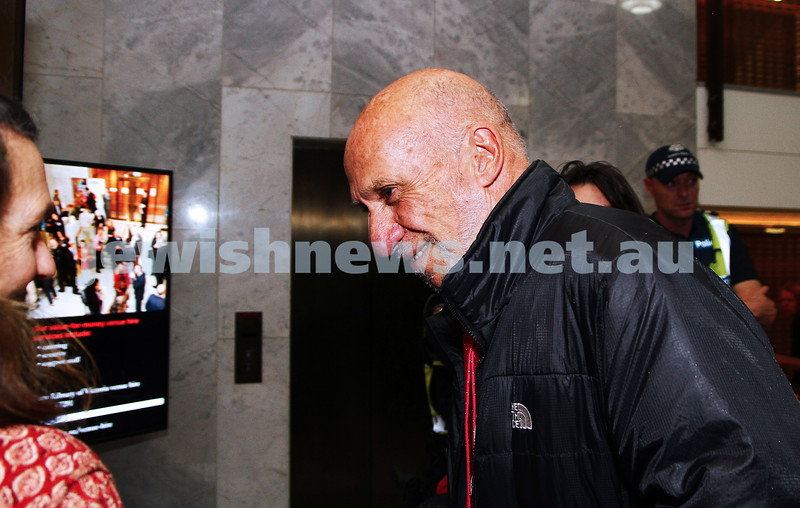 """16-9-13. State Library of Victoria. Lecture by Richard Falk on """" Human Rights in the Occupied Palestinian Territories"""".  Richard Falk talks with a member of the public as he arrives at the State Library. Photo: Peter Haskin"""