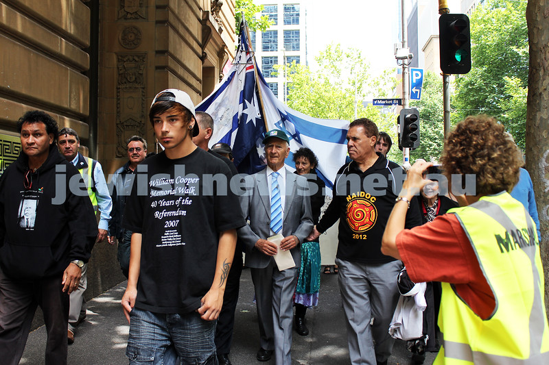 6-12-2012. Uncle Boydie, the grandson of Aboriginal activist William Cooper sought to right history's wrongs as he embarked on a three-hour walk from Footscray to Melbourne's CBD to deliver the petition his grandfather wrote, protesting horrors of Kristallnacht. Photos: Lochlan Tangas