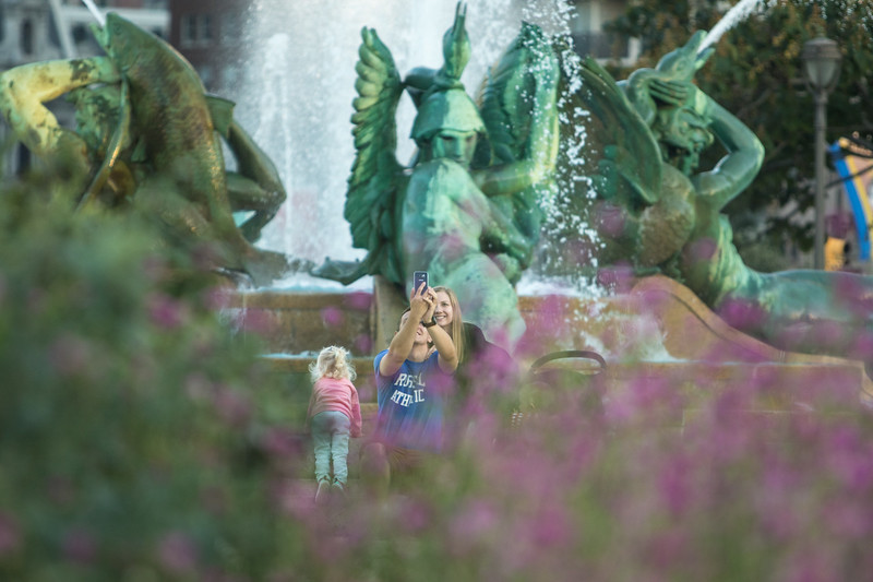 Family selfie at Swann Memorial Fountain in Philadelphia, Pa.