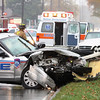 A Jeffersonville police cruiser and a passenger car were involved in a accident Thursday afternoon at approximately 2:30 p.m. in the 1200 block of East 10th St.  Staff photo by C.E. Branham