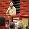 Coach Bob Knight spoke to a crowd Saturday night in the gymnasium at New Albany High School.  The event was a fundraiser for New Albany High School athletic programs.  Staff photo by C.E. Branham