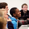 Moore Traditional School eighth-grader Keith Mitchell asked a question during College Day Out Tuesday at Ivy Tech Community College Southern Indiana.  Thirty seven students toured the campus and learned about planning for college.  Staff photo by C.E. Branham