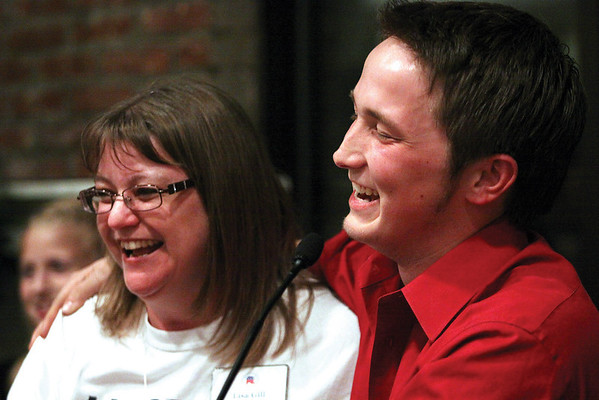 Republican City Council At-large candidate Matt Owen and Republican Lisa Gill, District 5 council, celebrate their victories Tuesday night.  Staff photo by C.E. Branham