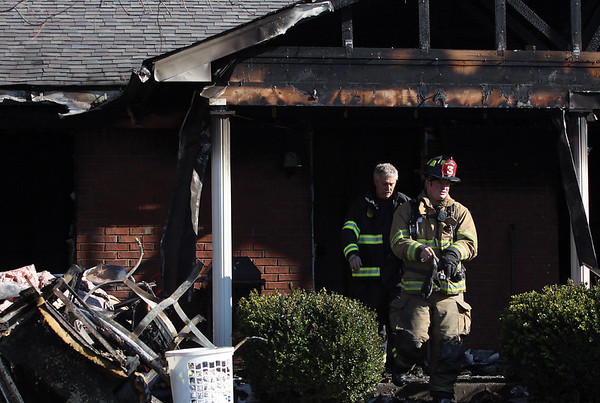 The Jeffersonville Fire Department returned to the scene of a Thursday morning fire at 101 Bittersweet Rd to extinguish a hot spot. Firefighters responded to the initial call at 5:59 a.m.  Staff photo by C.E. Branham