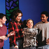 "Jeffersonville High School students Hailey Brewer, Erica Burkhead, Antje Chow and Michael Dorsey rehearse a scene from ""The Best Christmas Pageant Ever.""  Staff photo by C.E. Branham"