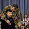 Army Spc. Shane Baker made a surprise visit to his son Austin Baker at Thomas Jefferson Elementary School in Jeffersonville Monday morning.  Baker is on a two-week leave following a six-month tour in Afghanistan.  Staff photo by C.E. Branham