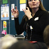 Kathleen Bartels, with the Louisville Orchestra,  lead a 40-minute workshops for first and second grade students in the Wilson Elementary School Read 180 program.  Staff photo by C.E. branham