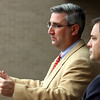 Indiana GOP chairman Eric Holcomb and former Jeffersonville mayor Rob Waiz held a press conference at the Clark County Government building Thursday morning to discuss election fraud concerns.  Staff photo by C.E. Branham