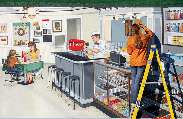 Former Jeffersonville High School student Molly Gruninger works on her floodwall mural depicting a scene from Schimpff's Confectionery this week.  Gruninger has been working on the scene, located near the Bristol Bar and Grille, for six weeks.  Staff photo by C.E. Branham