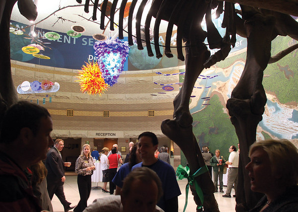 The Falls of the Ohio State Park showed off its newly revitalized Interpretive Center rotunda Thursday morning with a ribbon cutting.  The rotunda is the first component of the Crossroads Campaign for new exhibits at the center.  Staff photo by C.E. Branham
