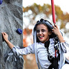 Evelyn Hill had a good time climbing a rock wall at a block party Halloween night sponsored by Oak Park Baptist Church.  The vent was held in Kyle Vissing Park and provided cotton candy, popcorn, hot dogs and inflatables.  Staff photo by C.E. Branham