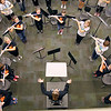 Rehearsal was moved indoors for the Floyd Central Highlander marching Band on Thursday. The band will continue preparations for their trip to the ISSMA state finals until Friday. Staff photo by Jerod Clapp