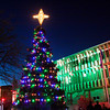 Jeffersonville's Christmas tree sits illuminated in Warder Park during Light Up Jeffersonville on Saturday evening. Staff photo by Christopher Fryer