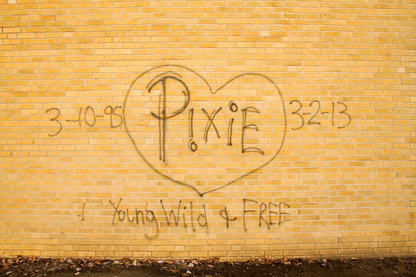 A wall bearing the nickname of Tara Willenborg sits on its location in downtown Jeffersonville. The graffiti around her nickname was added after Willenborg's death. The 17-year-old was found dead inside her Clarksville apartment after allegedly being raped and strangled by Richard Carly Hooten Jr. in early March of this year. Staff photo by Christopher Fryer