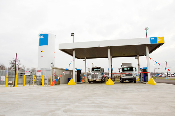 A new Blu. liquefied natural gas terminal station sits on its location at 1502 Payne-Koehler Road in Sellersburg on Tuesday afternoon. The alternative fuel station is the first of its kind to be open to the public in Indiana. Staff photo by Christopher Fryer