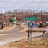 A welcome sign sits on its location along Ind. 60 in Henryville on Saturday afternoon. The town was heavily damaged last year when the March 2 tornadoes hit the area. Staff photo by Christopher Fryer