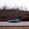 A vehicle moves down Ind. 60 next to a hillside that is lined with mangled trees in New Pekin on Wednesday evening. The trees were damaged last year when the March 2 tornadoes hit the area. Staff photo by Christopher Fryer