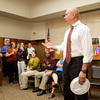 Chief Probation Officer David Munden, of the Intensive Felony Division in Clark County, addresses his co-workers during a surprise party in his honor in the Circuit Court No. 1 Courtroom at the Clark County Government Building in Jeffersonville on Thursday. Munden will be deployed to Afghanistan late this year for 12 months. Staff photo by Christopher Fryer