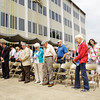 Attendants bow their heads for a prayer during the 62nd Annual National Day of Prayer in front of the City-County Building in downtown New Albany on Thursday afternoon. Local community and religious figures led prayers for government and civil servants, media, education, business, non-profits, and churches during the ceremony. Staff photo by Christopher Fryer