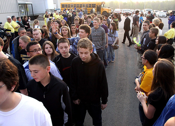 Approximately 500 Henryville High School and Middle School students returned to classes Monday morning at Mid-America Science Park in Scottsburg. Staff photo by C.E. Branham
