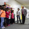 Jeffersonville Mayor Mike Moore and Sarah Green, director of the J.B. Ogle Animal Shelter, talk to students at Maple Elementary before accepting their donation to the animal shelter. Students sold decorated candy canes, raising more than $100 for the shelter. Staff photo by Jerod Clapp