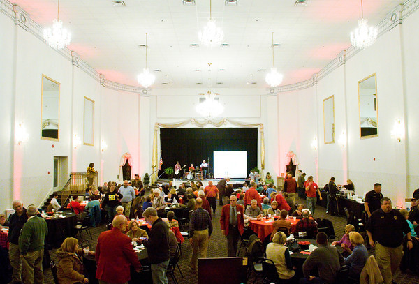 Attendees move about The Grand during the fifth annual Vintage Fire Museum and Education Center chili cook-off in downtown New Albany on Thursday evening. Staff photo by Christopher Fryer