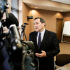 Indiana Sen. Joe Donnelly, D-Ind., speaks to members of the media following a round table discussion on job creation with local business owners and government and education officials at One Southern Indiana on Wednesday afternoon in New Albany. Staff photo by Christopher Fryer