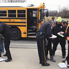 A Greater Clark County Schools bus was involved in an accident Thursday afternoon on 10th St. near Vissing Park Dr.  No injuries were reported but Jeffersonville Police and EMS workers checked student vitals as they left the bus to board another.  Staff photo by C.E. Branham