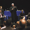 Indiana Court of Appeals Judge John Baker fields questions from the audience following oral arguments in the case of Jack Messer v. City of New Albany Police Department Wednesday morning at Silver Creek High School.  Staff photo by C.E. Branham