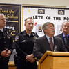 Indiana attorney general Greg Zoeller talks about SB 1 during a press conference at Clarksville Middle School on Thursday with Clarksville Police Chief Mark Palmer, school resource officer Michael Popplewell and district board president Bill Wilson. The district just hired Popplewell as its resource officer. Staff photo by Jerod Clapp