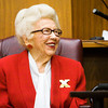 Margaret Read smiles as she listens to speakers honor her years of service in the Clark County justice system and community in Circuit Courtroom No. 1 during Margaret Read Day at the Clark County Government Building in Jeffersonville on Thursday morning. Read worked as a court reporter in the original Circuit Court from 1953 to 1974 and continued to serve the justice system after that through her private deposition service. A portrait of Read was also unveiled in the courtroom during the ceremony. Staff photo by Christopher Fryer