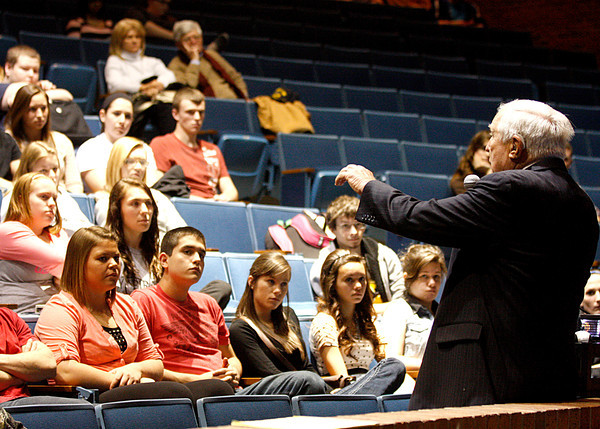 Students from Charlestown High School listen to Jerry Blaine, former Secret Service agent, talk about his time on President John F. Kennedy's personal detail. Staff photo by Jerod Clapp