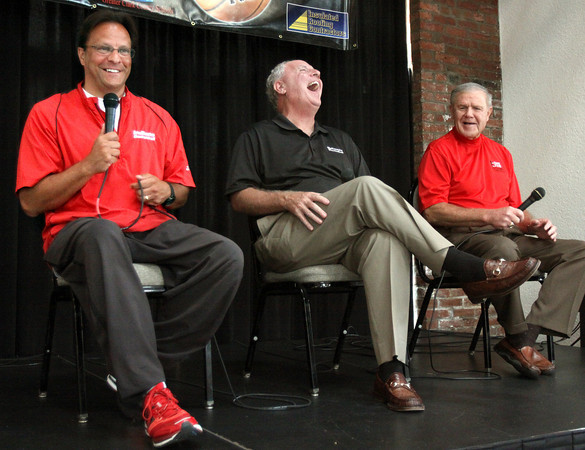 Indiana University basketball coach Tom Crean, Bellarmine University coach Scott Davenport, and Former University of Louisville coach Denny Crum have fun fielding questions at the third annual Coaches Rasing the Bar for Kids. The event raises funds for the Greater Clark County Schools Educational Foundation. Staff photo by C.E. Branham