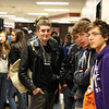 Roman Bresson, Adrien Robin and Gabriel Stephenson wait in the hallways of Jeffersonville High School for the rest of their tour through the building on Wednesday. The 11th-graders from Lycee Jules Guesde in Montpellier, France, were part of a group of 27 French students visiting the school. Staff photo by Jerod Clapp