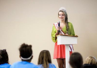 National American Miss Indiana Pre-Teen Ella Harrison discusses issues surrounding self-esteem with young women from Clark and Floyd counties during the Open Door Youth Services' Esteem Makeover program at Graceland Baptist Church in New Albany earlier this month. Staff photo by Chuck Branham