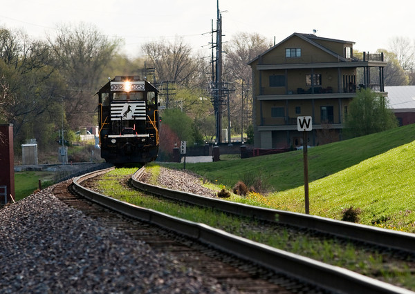 The Norfolk Southern Operation Lifesaver Whistle-Stop Train pulls into New Albany on the way to Huntingburg during a train tour to promote highway-rail and pedestrian safety on Friday. Staff photo by Christopher Fryer