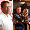 Indiana University basketball coach Tom Crean answered questions before speaking at the IU Tailgate Tour Wednesday evening at Huber Winery. Staff photo by C.E. Branham