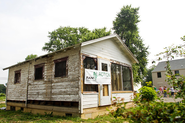 Emery's Ice Cream Parlor sits on its location at the Urban Fusion Community Garden in New Albany on Saturday morning. The structure is owned by the Floyd County Historical Society and was moved to its current location by Indiana Landmarks last year. Staff photo by Christopher Fryer