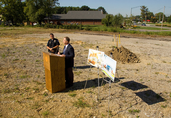 Jeffersonville Mayor Mike Moore speaks during the groundbreaking ceremony for the new Jeffersonville Police Station Headquarters along East 10th Street in Jeffersonville on Monday morning. Staff photo by Christopher Fryer
