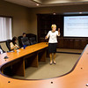Indiana Lt. Gov. Sue Ellsermann speaks with representatives from local businesses  and community leaders in a conference room at Hitachi Cable Indiana during a stop on her Listen & Learn Tour in New Albany on Wednesday morning. She plans to make a stop in each of Indiana's 92 counties to hear the local concerns of communities across the state. Staff photo by Christopher Fryer