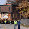 The Reuben Wells House was moved down Mulberry St. Thursday to its new location on Market St. Staff photo by C.E. Branham