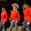 From left, Highland Hills Middle School students Madelynn Farris, 12, Anna Dietrich, 13, and Lexie Austin, 12, stand in the indoor arena at the Dietrich Ranch in Floyd County on Thursday evening. They will be competing in the eighth annual National Junior High Finals Rodeo in Gallup, N.M. at the end of June. Staff photo by Christopher Fryer