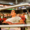 Ricky Conrad, of Jeffersonville, listens as the Dalai Lama speaks during a Buddhist teaching at the KFC Yum! Center in Louisville on Monday morning. Staff photo by Christopher Fryer