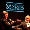 Billy Beane, left, the general manager of the Oakland Athletics professional baseball team, speaks during the annual Sanders Speaker Series, which was moderated by Marty Rosen, right, in the Stem Concert Hall at Indiana University Southeast on Tuesday evening in New Albany. Staff photo by Christopher Fryer