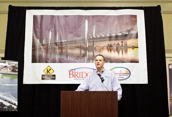 Project manager Arik Quam speaks during a pre-construction media briefing on the Ohio River Bridges Project Downtown Crossing in the Willow Room at the Galt House in downtown Louisville on Wednesday morning. Staff photo by Christopher Fryer