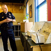 Clarksville Police Chief Mark Palmer talks to members of the media about the seized grow lights that his department donated to the Ed Endres Boys & Girls Club after dropping them off on Wednesday afternoon. The lights will be used with the dirtless tower garden, a device used to grow plants without soil, that the center recently purchased. Staff photo by Christopher Fryer