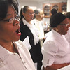 "Jo Russell, foreground, and other members of the New Albany Community Choir perform during the Carnegie Center for Art and History opening celebration of permanent exhibit, ""Remembered: The Life of Lucy Higgs Nichols.""  Staff photo by C.E. Branham"