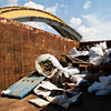 Collected debris sits in a dumpster on the New Albany riverfront after being collected by volunteers during the 2013 Ohio River Sweep in New Albany on Saturday morning. Staff photo by Christopher Fryer